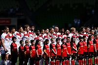 England team sing national anthem during the England Vs Papua New Guinea 2017 Rugby League World Cup Quarter Final match at the Melbourne Rectangular Stadium, Melbourne Australia. Sunday 19 November 2017. Copyright Photo Brendon Ratnayake / www.photosport.nz MANDATORY CREDIT/BYLINE : Brendon Ratnayake/SWpix.com/PhotosportNZ