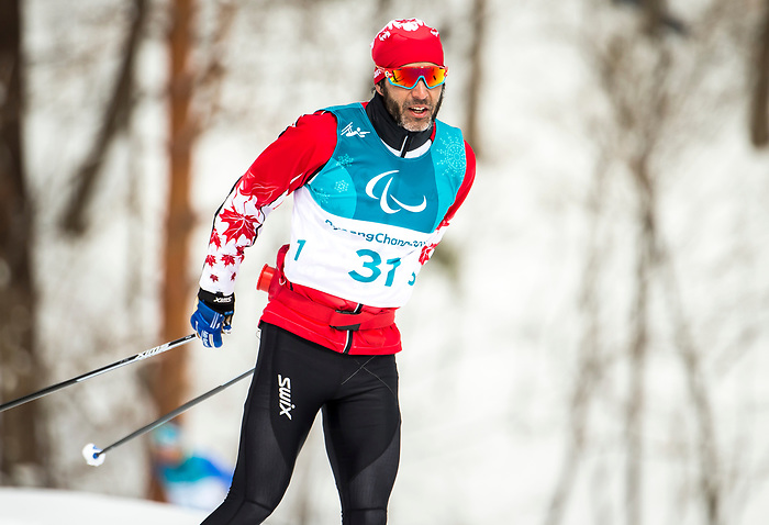 PyeongChang 9/3/2018 - Brian McKeever, of Canmore, AB, during a biathlon/cross country training session at the Alpensia Biathlon Centre during the 2018 Winter Paralympic Games in Pyeongchang, Korea. Photo: Dave Holland/Canadian Paralympic Committee