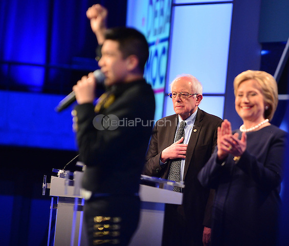 MIAMI, FL - MARCH 09: Bernie Sanders And Hillary Clinton pictured during the Univision News and Washington Post Democratic Presidential Primary Debate sanctioned by the Democratic National Committee at Miami Dade College on March 9, 2016 in Miami, Florida. Credit: mpi10/MediaPunch
