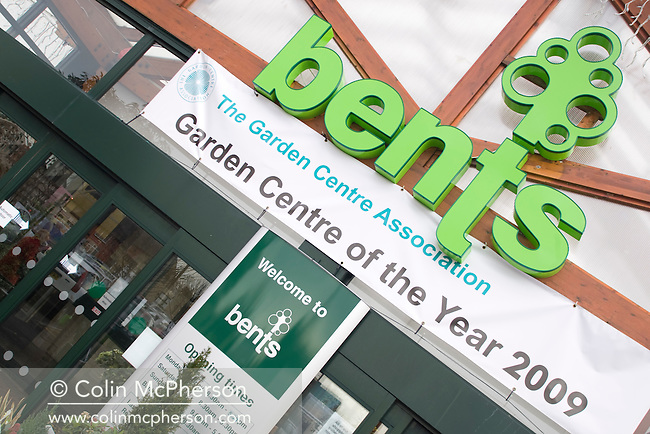 An exterior view of the signage at the entrace to the Bents Garden Centre in Glazebury near Warrington, pictured as part of the Cheshire Food Trail. This family-run business has been build up steadily over the years and was named 2009 Garden Centre of the Year.