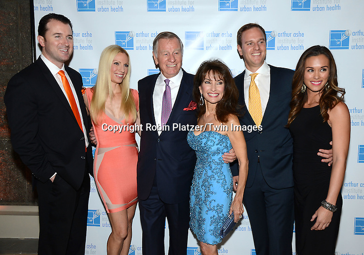 Liza Huber, husband Alex Hesterberg,Helmet Huber, Susan Lucci, son Andreas and girlfriend Courtney Velasco  attend the 21st Annual Black Tie and Sneakers Sports Ball Gala on October 21, 2015 at Guastavinos in New York, New York, USA. The event is a fundraiser for the Arthur Ashe Institute of Urban Health<br /> <br /> photo by Robin Platzer/Twin Images<br />  <br /> phone number 212-935-0770