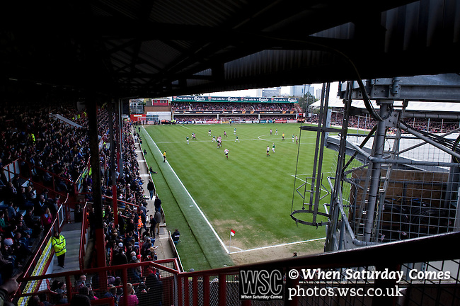 Brentford 0 Doncaster Rovers 1, 27/04/2013. Griffin Park, League One. Griffin Park hosts a showdown between two clubs aiming for automatic promotion from League One. Limited views in a sell-out crowd. Photo by Simon Gill.