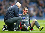 07.04.2018 Rangers v Dundee:<br /> Dundee keeper Elliott Parish after colliding with Alfredo Morelos