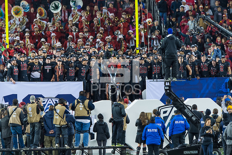 Stanford, CA - December 5, 2015:  Stanford vs University of Southern California in the Pac-12 Championship football game at Levi's Stadium. The Cardinal defeated the Trojans 41-22.