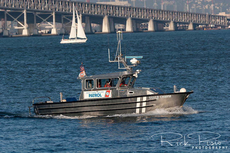 Coast Guard Auxiliary Vessel Silver Charm patrols the waters of San Francisco Bay