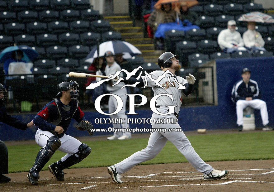 06 April 2008:   Sacramento's  #45 Casey Rogowski flies out against the Tacoma Rainiers at Cheney Stadium in Tacoma, Washington. Tacoma won 3-2 over Sacramento in rain delayed seven inning game.