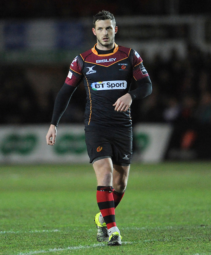 Newport Gwent Dragons' Jason Tovey in action during todays match<br /> <br /> Photographer Ian Cook/CameraSport<br /> <br /> Rugby Union - Guinness PRO12 Round 14 - Newport Gwent Dragons v Connacht - Thursday 11th February 2016 - Rodney Parade - Newport<br /> <br /> &copy; CameraSport - 43 Linden Ave. Countesthorpe. Leicester. England. LE8 5PG - Tel: +44 (0) 116 277 4147 - admin@camerasport.com - www.camerasport.com