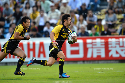 Go Aruga (Sungoliath),.SEPTEMBER 22, 2012 - Rugby : Japan Rugby Top League 2012-2013, 4th Sec match between Suntory Sungoliath 42-17 Canon Eagles at Chichibunomiya Rugby Stadium, Tokyo, Japan. (Photo by Jun Tsukida/AFLO SPORT).