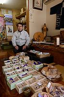 Masahara Nakajima, owner of Nakajima Seikichi Shoten. Tendo, Yamagata Prefecture, Japan, February 19, 2018. The city of Tendo in Yamagata Prefecture is famous for its shogi (Japanese chess) playing pieces. Production started early in the 19th century and Tendo still produces over 95% of the Shogi pieces made in Japan.
