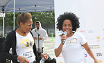 Founder Deborah Koenigsberger and Another World's and singer Rhonda Ross - she sang the National Anthem  - Hearts of Gold 7th Annual Run/Walk for Kids with proceeds from this fun family event will change the futures of homeless mothers and their children on June 3, 2017 at Pier 84 Hudson Parks, New York City, New York. It supports Hearts of Gold Annual Back to School Programs. (Photo by Sue Coflin/Max Photos)