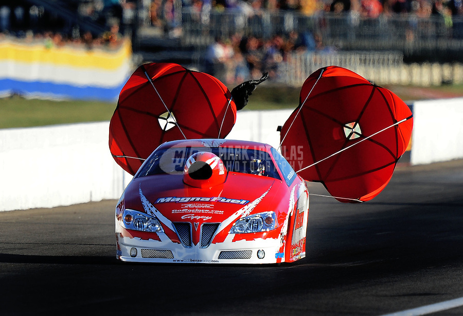 Sept. 4, 2010; Clermont, IN, USA; NHRA pro stock driver Bob Benza during qualifying for the U.S. Nationals at O'Reilly Raceway Park at Indianapolis. Mandatory Credit: Mark J. Rebilas-