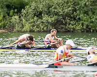 Lucerne, SWITZERLAND<br /> <br /> DEN LM2X Reigning Olympic Champions, bow, Mads RASMUSSEN and Rasmus QUIST, miss out on winning a qualification place at the 2016 European Olympic Qualifying Regatta, Lake Rotsee.<br /> <br /> Tuesday  24/05/2016<br /> <br /> [Mandatory Credit; Peter SPURRIER/Intersport-images]