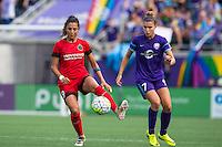 Orlando, FL - Sunday June 26, 2016: Nadia Nadim, Stephanie Catley  during a regular season National Women's Soccer League (NWSL) match between the Orlando Pride and the Portland Thorns FC at Camping World Stadium.