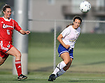 BROOKINGS, SD - AUGUST 16:  Megan Kingston #10 from South Dakota State University eyes the ball past Andrea Angioli #6 from Winnipeg in the first half of their game Friday evening at Fischback Soccer Field in Brookings. (Photo by Dave Eggen/Inertia)