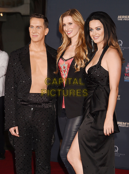 HOLLYWOOD, CA - SEPTEMBER 08: (L-R) Fashion designer Jeremy Scott, President and COO of TCL Chinese Theatres in Hollywood Alwyn Hight Kushner and singer Katy Perry at the Jeremy Scott And Katy Perry Hand Print Ceremony At TCL Chinese IMAX Forecourt on September 8, 2015 in Hollywood, California.<br /> CAP/ROT/TM<br /> &copy;TM/Roth Stock/Capital Pictures