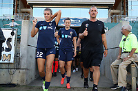 Cary, North Carolina  - Saturday August 05, 2017: Stephanie Ochs, Nora Holstad, and Scott Vallow prior to a regular season National Women's Soccer League (NWSL) match between the North Carolina Courage and the Seattle Reign FC at Sahlen's Stadium at WakeMed Soccer Park. The Courage won the game 1-0.