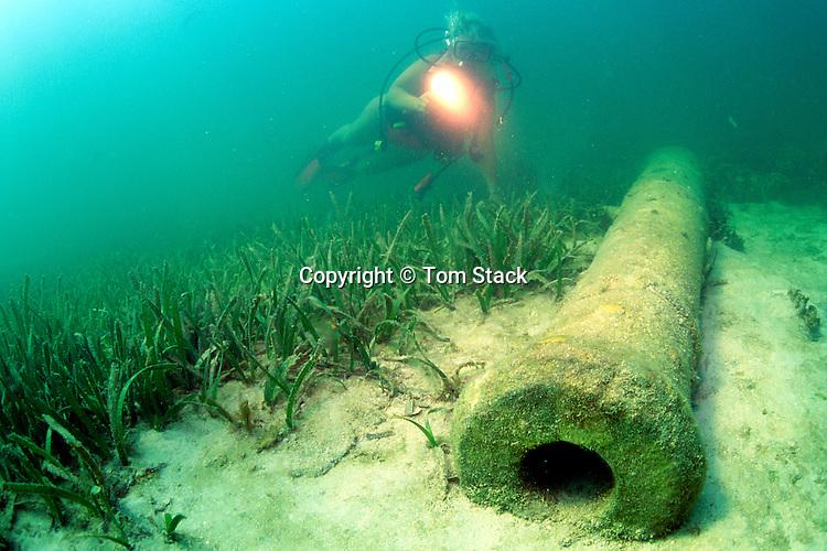 Canon on wreck of San Pedro, 18th. century sailing vessel, off Islamorada, Florida Keys