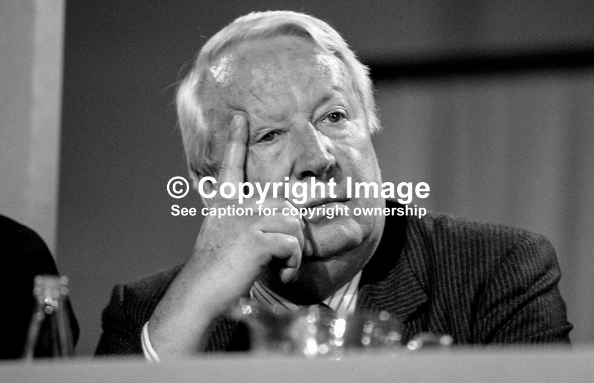 Edward Heath, aka Ted Heath, MP, Conservative Party, former prime minister, on platform at annual conference. 19871039EH1.<br /> <br /> Copyright Image from Victor Patterson, 54 Dorchester Park, Belfast, UK, BT9 6RJ<br /> <br /> t1: +44 28 9066 1296 (from Rep of Ireland 048 9066 1296)<br /> t2: +44 28 9002 2446 (from Rep of Ireland 048 9002 2446)<br /> m: +44 7802 353836<br /> <br /> e1: victorpatterson@me.com<br /> e2: victorpatterson@gmail.com<br /> <br /> The use of any of my copyright images is subject to my Terms &amp; Conditions. It is IMPORTANT that you familiarise yourself with them. They are available at my website, victorpatterson.com.<br /> <br /> None of my copyright images may be used on the Internet unless they are visibly watermarked, i.e. &copy; Victor Patterson within the body of the image. My metadata, denoting my copyright must NOT be deleted. <br /> <br /> Web use is extra at currently recommended NUJ rates. Maximum permitted web size is<br />  400kb. <br /> <br /> Images must not be passed on to a third party - they are for the use of the authorised recipient only.