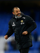 2nd February 2019, Goodison Park, Liverpool, England; EPL Premier League Football, Everton versus Wolverhampton Wanderers; Wolverhampton Wanderers manager Nuno Espirito Santo salutes the travelling Wolves fans at the end of the game
