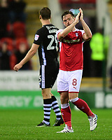 Rotherham United's Lee Frecklington applauds the Lincoln City fans as he is substituted<br /> <br /> Photographer Chris Vaughan/CameraSport<br /> <br /> The Carabao Cup First Round - Rotherham United v Lincoln City - Tuesday 8th August 2017 - New York Stadium - Rotherham<br />  <br /> World Copyright &copy; 2017 CameraSport. All rights reserved. 43 Linden Ave. Countesthorpe. Leicester. England. LE8 5PG - Tel: +44 (0) 116 277 4147 - admin@camerasport.com - www.camerasport.com