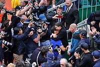 Fabio Fognini esultanza con Flavia Pennetta <br /> Monaco 21/04/2019 Monte Carlo Country Club Panoramica <br /> Tennis Torneo ATP Montecarlo 2019 <br /> Foto Norbert Scanella / Panoramic / Insidefoto <br /> ITALY ONLY