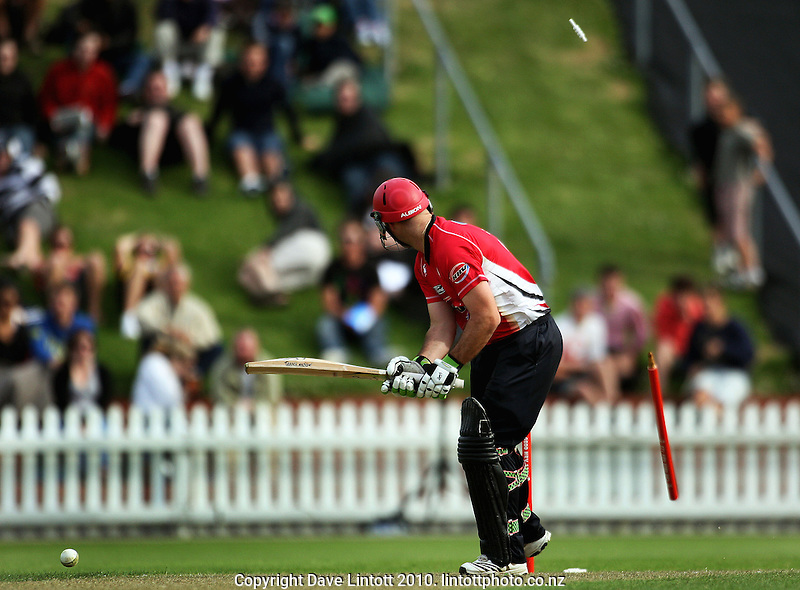 Canterbury's Shanan Stewart is cleanbowled during the HRV Cup Twenty20 cricket match between the Wellington Firebirds and Canterbury Wizards at Allied Nationwide Finance Basin Reserve, Wellington, New Zealand on Wednesday, 6 January 2010. Photo: Dave Lintott / lintottphoto.co.nz