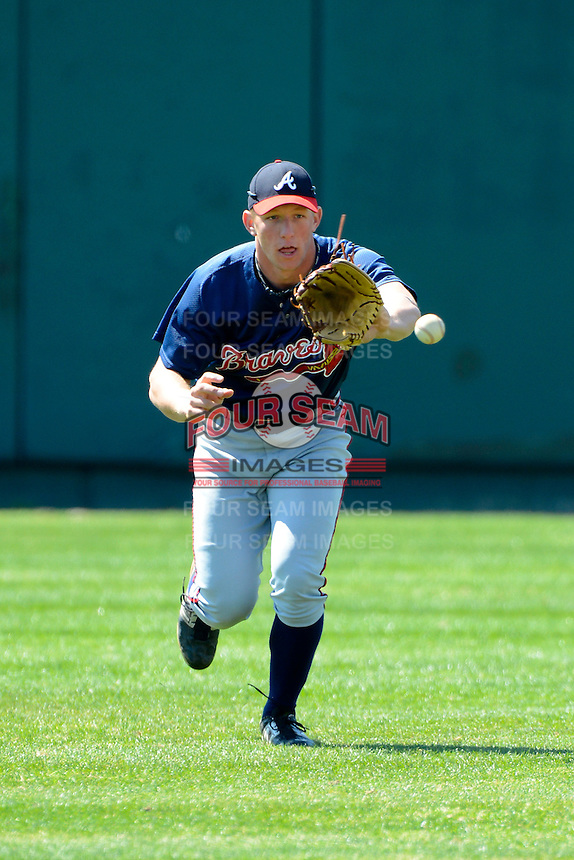 Atlanta Braves outfielder Connor Lien #81 during practice before a minor league Spring Training game against the Philadelphia Phillies at Al Lang Field on March 14, 2013 in St. Petersburg, Florida.  (Mike Janes/Four Seam Images)