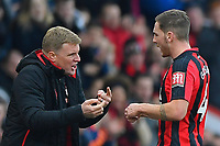 AFC Bournemouth Manager Eddie Howe makes a point to Dan Gosling of AFC Bournemouth in the final minutes of the match during AFC Bournemouth vs Arsenal, Premier League Football at the Vitality Stadium on 14th January 2018