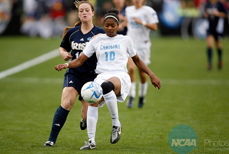 03 DEC 2006:  Ariel Harris (10) of the University of North Carolina and Brittany Bock (10) of Notre Dame University battle for the ball during the Division I Women's Soccer Championship held at the SAS Soccer Park in Cary, NC.  North Carolina defeated Notre Dame 2-1 for the national title.  Jamie Schwaberow/NCAA Photos
