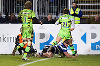Nick Auterac of Bath Rugby scores a try in the second half. Aviva Premiership match, between Bath Rugby and Northampton Saints on February 9, 2018 at the Recreation Ground in Bath, England. Photo by: Patrick Khachfe / Onside Images