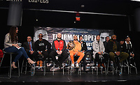 BROOKLYN - JANUARY 24: (L-R) Fox Sports' Heidi Androl, and boxers Claudio Marrero, Adam Kownacki, Keith Thurman, Fox Sports Ray Flores, boxers Josesito Lopez, Gerald Washington, and Tugstsogt Nyambayar attend a press conference for the January 26 PBC on FOX fight card at Barclays Arena on January 24, 2019, in Brooklyn, New York. (Photo by Frank Micelotta/Fox Sports/PictureGroup)