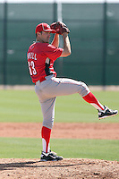 Blaine Howell #63 of the Cincinnati Reds plays in a minor league spring training game against the Cleveland Indians at the Reds complex on March 26, 2011 in Goodyear, Arizona. .Photo by:  Bill Mitchell/Four Seam Images.