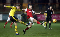 Oxford United's Rob Dickie clears under pressure from Fleetwood Town's Paddy Madden<br /> <br /> Photographer Rich Linley/CameraSport<br /> <br /> The EFL Sky Bet League One - Fleetwood Town v Oxford United - Saturday 12th January 2019 - Highbury Stadium - Fleetwood<br /> <br /> World Copyright &copy; 2019 CameraSport. All rights reserved. 43 Linden Ave. Countesthorpe. Leicester. England. LE8 5PG - Tel: +44 (0) 116 277 4147 - admin@camerasport.com - www.camerasport.com