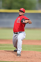 Los Angeles Angels of Anaheim pitcher Eduardo Paredes (54) during an Instructional League game against the Milwaukee Brewers on October 9, 2014 at Tempe Diablo Stadium Complex in Tempe, Arizona.  (Mike Janes/Four Seam Images)