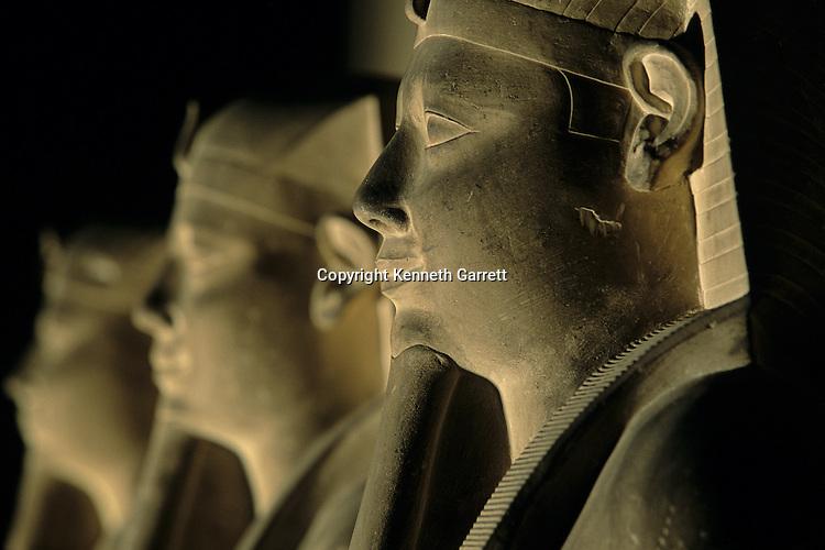 Statues of the Pharaoh Senusret, Middle Kingdom, found outside mortuary temple in Lisht, limestone, Egyptian Museum, Cairo; Senwosret, Sesostris