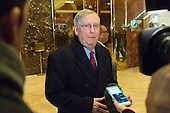Following his meeting with President-elect Trump, Senate Majority Leader Mitch McConnell is seen is seen speaking with the press in the lobby of Trump Tower in New York, NY, USA on January, 9, 2017. <br /> Credit: Albin Lohr-Jones / Pool via CNP