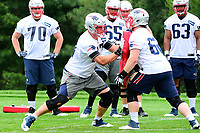June 7, 2017: New England Patriots tackle Nate Solder (77) (left) and guard Joe Thuney (62) work on a drill at the New England Patriots mini camp held on the practice field at Gillette Stadium, in Foxborough, Massachusetts. Eric Canha/CSM