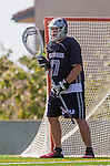 Los Angeles, CA 03/12/16 - Alec King (Utah State #27) in action during the Utah State vs Loyola Marymount MCLA Men's Division I game at Leavey Field at LMU.  Utah State defeated LMU 17-4.