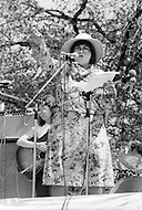 May 11th 1975, Manhattan, New York.<br /> Bella Abzug appeared at The War Is Over concert in New York's Central Park talking in front of a crowd of more than 100.000 people.