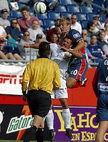 San Jose's Troy Dayak, left, New England's Taylor Twellman, right, San Jose vs. New England, Foxboro, Ma, May 3, 2003. San Jose won 2-0.