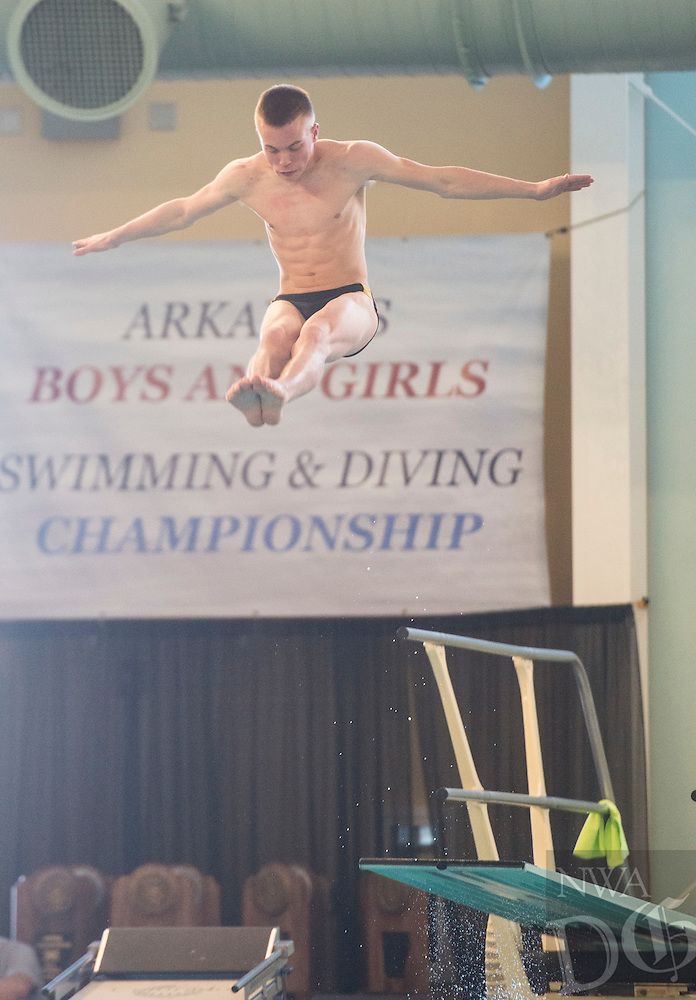 NWA Democrat-Gazette/ANTHONY REYES @NWATONYR<br /> Kyle Nichols of Bentonville during the Arkansas State Dive meet Friday, Feb. 24, 2017 at the Bentonville Community Center in Bentonville.
