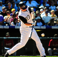07 September 08: Rockies 1st baseman Garrett Atkins at bat against the Astros. The Houston Astros defeated the Colorado Rockies 7-5 at Coors Field in Denver, Colorado. FOR EDITORIAL USE ONLY