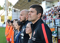 20171024 - PENAFIEL , PORTUGAL : Portugese head coach Francisco Neto pictured during a women's soccer game between Portugal and the Belgian Red Flames , on tuesday 24 October 2017 at Estádio Municipal 25 de Abril in Penafiel. This is the third game for the  Red Flames during the Worldcup 2019 France qualification in group 6. PHOTO SPORTPIX.BE | DAVID CATRY