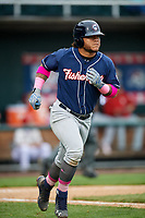 New Hampshire Fisher Cats designated hitter Harold Ramirez (23) runs to first base during the second game of a doubleheader against the Harrisburg Senators on May 13, 2018 at FNB Field in Harrisburg, Pennsylvania.  Harrisburg defeated New Hampshire 2-1.  (Mike Janes/Four Seam Images)