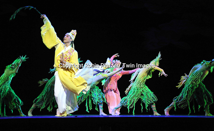 "Han Bo and Xu Xinyu dancing with The China Jinling Dance Company of Nanjing in "" The Peony Pavilion"" on January 5, 2012 at the David Koch Theatre in Lincoln Center."