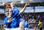 19th April 2011, Dundee United v Rangers SPL match at Tannadice Stadium, Dundee, Steven Naismith and Steven Davis celebrate with scorer Steven Whittaker, Rob Casey Photography.