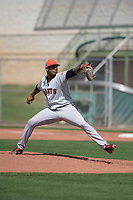 San Francisco Giants relief pitcher Jose Marte (40) delivers a pitch to the plate during a Minor League Spring Training game against the Cleveland Indians at the San Francisco Giants Training Complex on March 14, 2018 in Scottsdale, Arizona. (Zachary Lucy/Four Seam Images)