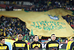 15 JUN 2010: Brazil fans unfurl a giant team jersey. The Brazil National Team defeated the North Korea National Team 2-0 at Ellis Park Stadium in Johannesburg, South Africa in a 2010 FIFA World Cup Group G match.