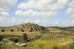 Israel, Lower Galilee, remains of a flour mill overlooking Alil Hill and Wadi Zippori