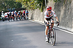 Bauke Mollema (NED) Trek-Segafredo attacks on the Civiglio climb during the 113th edition of Il Lombardia 2019 running 243km from Bergamo to Como, Italy. 12th Octobre 2019. <br /> Picture: Luca Bettini/BettiniPhoto | Cyclefile<br /> <br /> All photos usage must carry mandatory copyright credit (© Cyclefile | Luca Bettini/BettiniPhoto)